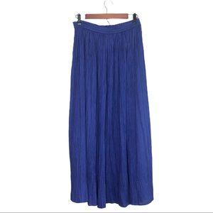 ALLURE Vintage Rayon Pleated Crepe Maxi Skirt Blue